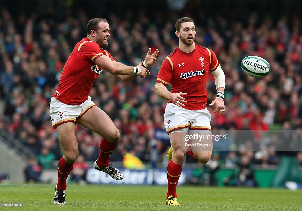 <a gi-track='captionPersonalityLinkClicked' href=/galleries/search?phrase=Jamie+Roberts&family=editorial&specificpeople=3530992 ng-click='$event.stopPropagation()'>Jamie Roberts</a> of Wales passes the ball during the RBS Six Nations match between Ireland and Wales at the Aviva Stadium on February 7, 2016 in Dublin, Ireland.