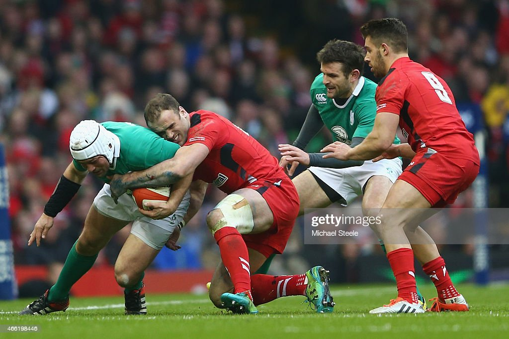 Jamie Roberts of Wales tackles Rory Best of Ireland during the RBS Six Nations match between Wales and Ireland at the Millennium Stadium on March 14, 2015 in Cardiff, Wales.