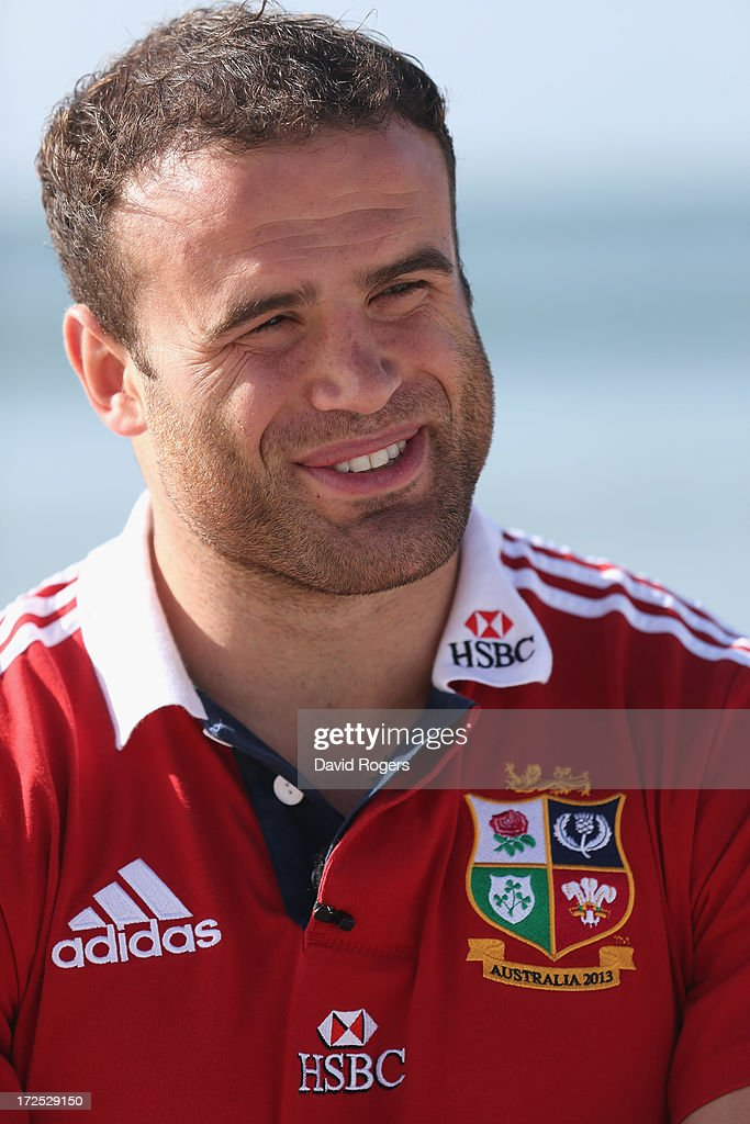 <a gi-track='captionPersonalityLinkClicked' href=/galleries/search?phrase=Jamie+Roberts&family=editorial&specificpeople=3530992 ng-click='$event.stopPropagation()'>Jamie Roberts</a> who will play at centre for the British and Irish Lions in the third and final test against the Wallabies, talks to the media on Noosa Beach on July 3, 2013 in Noosa, Australia.