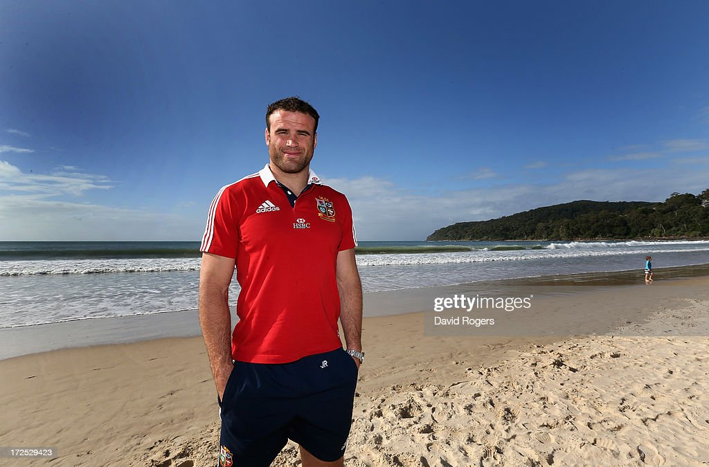 <a gi-track='captionPersonalityLinkClicked' href=/galleries/search?phrase=Jamie+Roberts&family=editorial&specificpeople=3530992 ng-click='$event.stopPropagation()'>Jamie Roberts</a> who will play at centre for the British and Irish Lions in the third and final test against the Wallabies, poses on Noosa Beach on July 3, 2013 in Noosa, Australia.