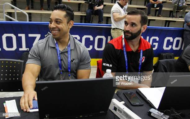 Jamie Rodriguez and Joe Lorincz of the New Jersey Devils attend the NHL Combine at HarborCenter on June 3 2017 in Buffalo New York