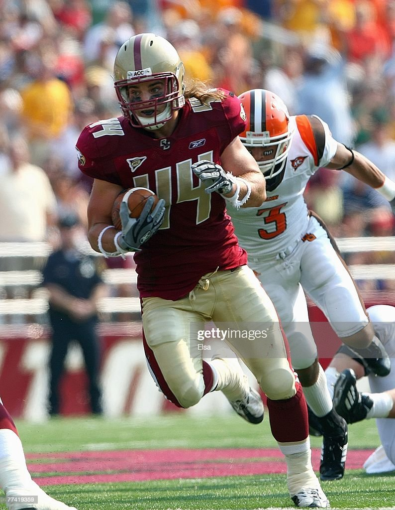 Jamie Silva of the Boston College Eagles runs carries the ball during the game against the Bowling Green Falcons on October 6 2007 at Alumni Stadium...