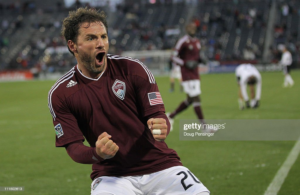 Jamie Smith of the Colorado Rapids celebrates his goal in the 71st minute against DC United at Dick's Sporting Goods Park on April 3 2011 in Commerce...