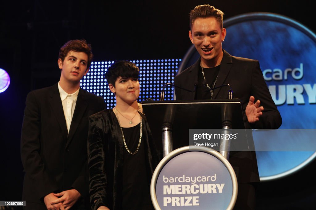 R Jamie Smith Romy Madley Croft and Oliver Sim of The XX accept the Mercury Music Prize at the Barclaycard Mercury Music Prize 2010 held at The...