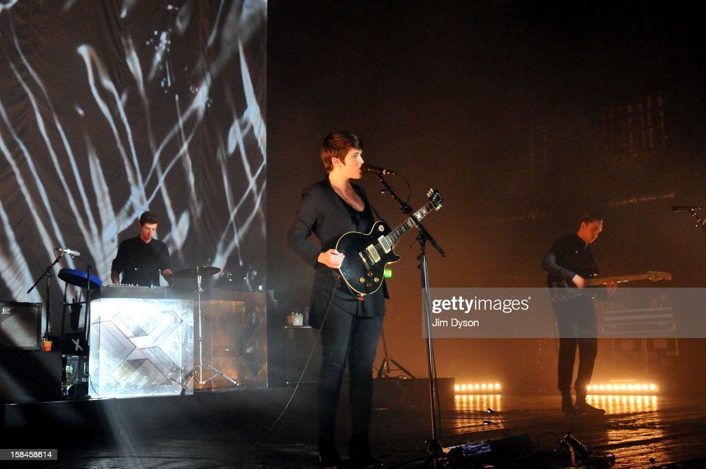Jamie Smith Romy Madley Croft and Oliver Sim of The XX perform live on stage at Brixton Academy on December 16 2012 in London England