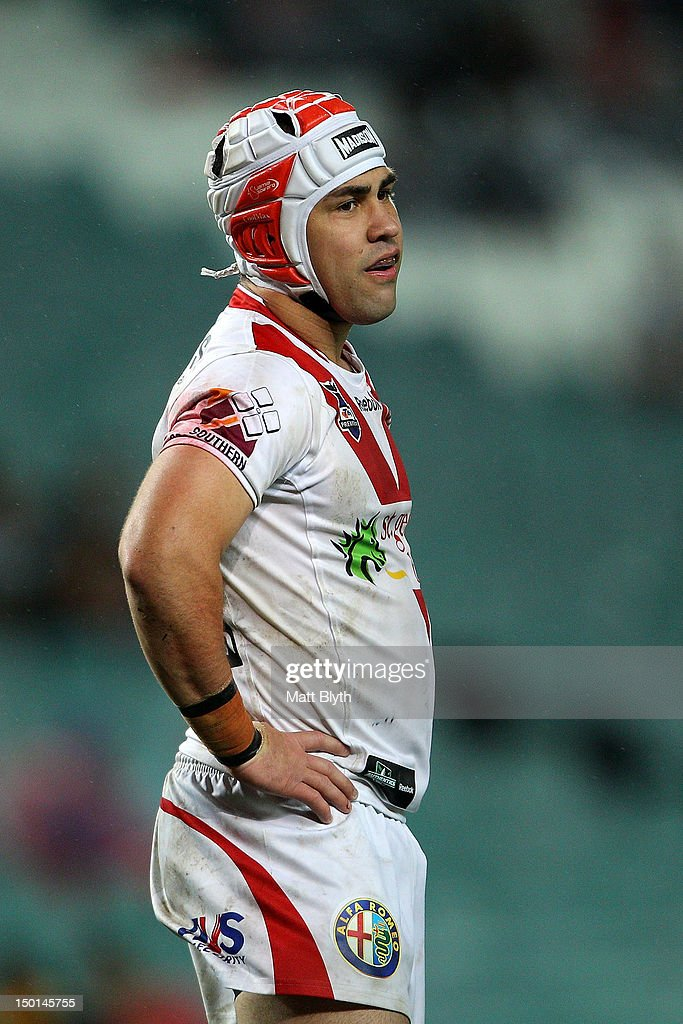 Jamie Soward of the Dragons looks during the round 23 NRL match between the Wests Tigers and the St George Illawarra Dragons at Allianz Stadium on August 11, 2012 in Sydney, Australia.