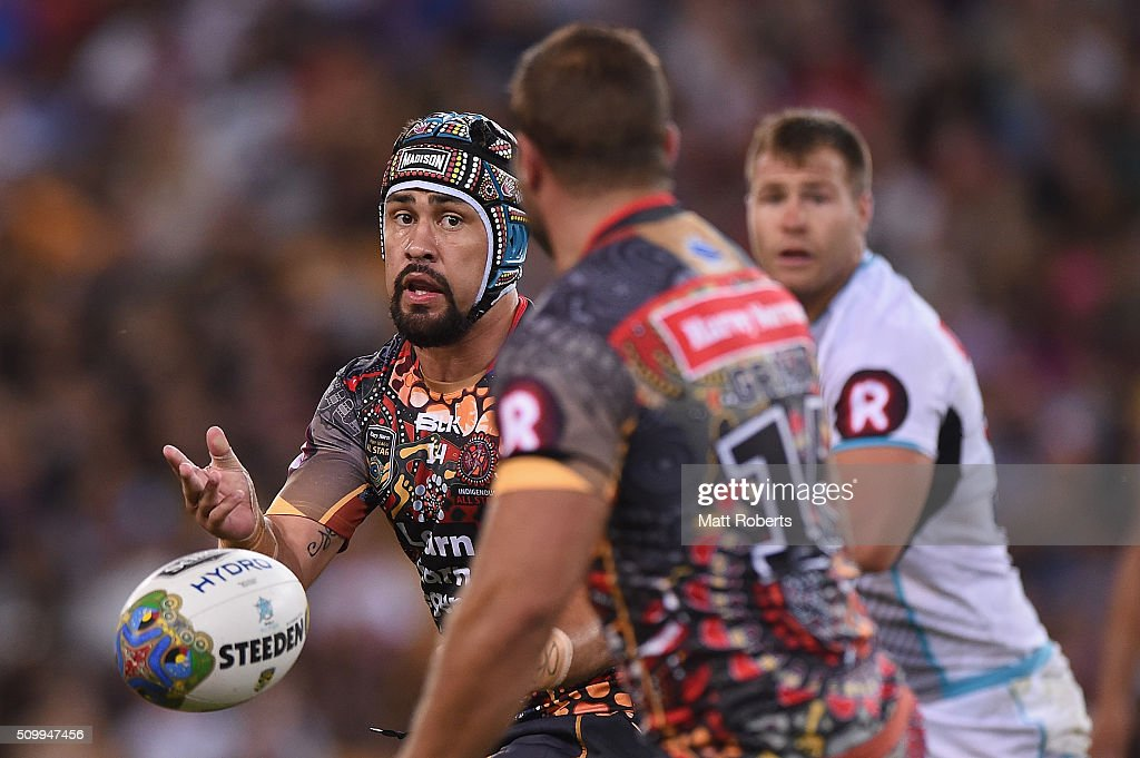 <a gi-track='captionPersonalityLinkClicked' href=/galleries/search?phrase=Jamie+Soward&family=editorial&specificpeople=2327643 ng-click='$event.stopPropagation()'>Jamie Soward</a> of the Indigenous All Stars passes the ball during the NRL match between the Indigenous All-Stars and the World All-Stars at Suncorp Stadium on February 13, 2016 in Brisbane, Australia.