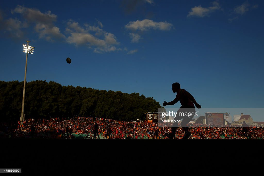 Jamie Soward of the Panthers practises his goal kicking before the round 16 NRL match between the Wests Tigers and the Penrith Panthers at Leichhardt Oval on June 28, 2015 in Sydney, Australia.