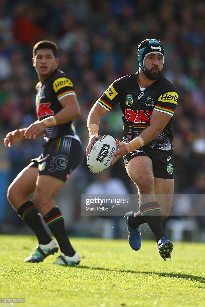 <a gi-track='captionPersonalityLinkClicked' href=/galleries/search?phrase=Jamie+Soward&family=editorial&specificpeople=2327643 ng-click='$event.stopPropagation()'>Jamie Soward</a> of the Panthers runs the ball during the round nine NRL match between the Penrith Panthers and the Canberra Raiders at Carrington Park on April 30, 2016 in Bathurst, Australia.