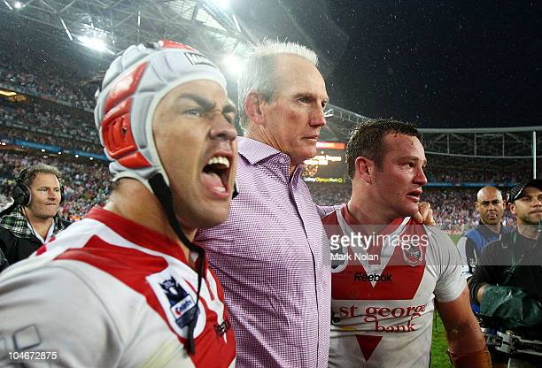 Jamie Soward Wayne Bennett and Dean Young of the Dragons celebrate after the NRL Grand Final match between the St George Illawarra Dragons and the...