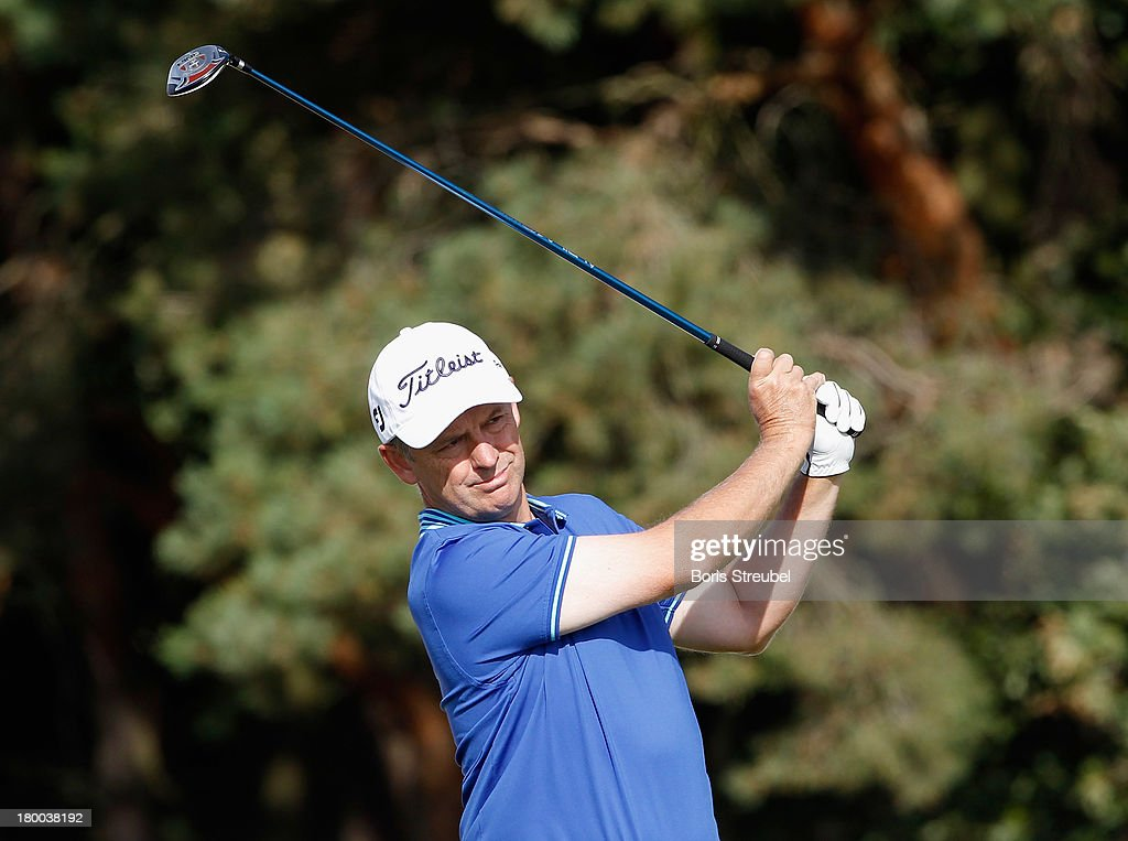 <a gi-track='captionPersonalityLinkClicked' href=/galleries/search?phrase=Jamie+Spence&family=editorial&specificpeople=171471 ng-click='$event.stopPropagation()'>Jamie Spence</a> of England hits a drive from the third tee during the final round on day three of the WINSTONgolf Senior Open played at WINSTONgolf on September 8, 2013 in Schwerin, Germany.