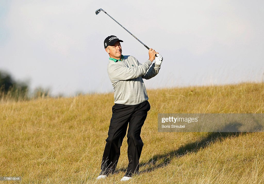 Jamie Spence of England plays from the rough during the second round on day two of the WINSTONgolf Senior Open played at WINSTONgolf on September 7, 2013 in Schwerin, Germany.
