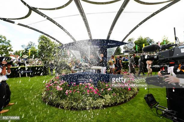 Jamie Spencer Fran Berry and Neil Callan of the Great Britain Ireland winning team at The Dubai Duty Free Shergar Cup Ascot Racecourse on August 12...
