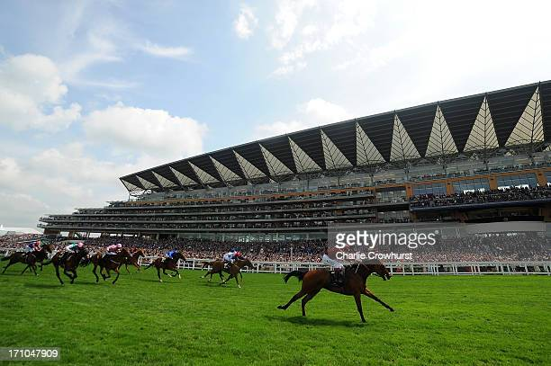 Jamie Spencer riding Kiyoshi lands the Albany Stakes during day four of Royal Ascot at Ascot Racecourse on June 21 2013 in Ascot England