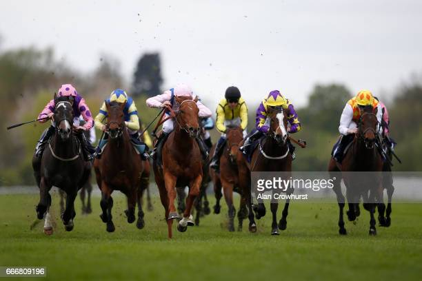 Jamie Spencer riding Rock Of Estonia win The EBF Racing Welfare Novice Stakes at Windsor Racecourse on April 10 2017 in Windsor England