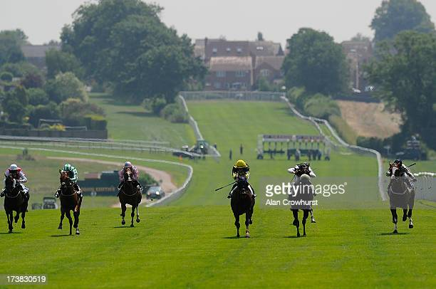 Jamie Spencer riding Touch The Clouds win The Track Your Favourite Horses At attheracescom Selling Stakes at Leicester racecourse on July 18 2013 in...