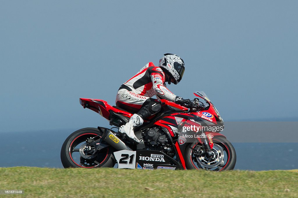 Jamie Stauffer of Australia and Team Honda Racing heads down a straight during qualifying practice ahead of the World Superbikes at Phillip Island Grand Prix Circuit on February 22, 2013 in Phillip Island, Australia.
