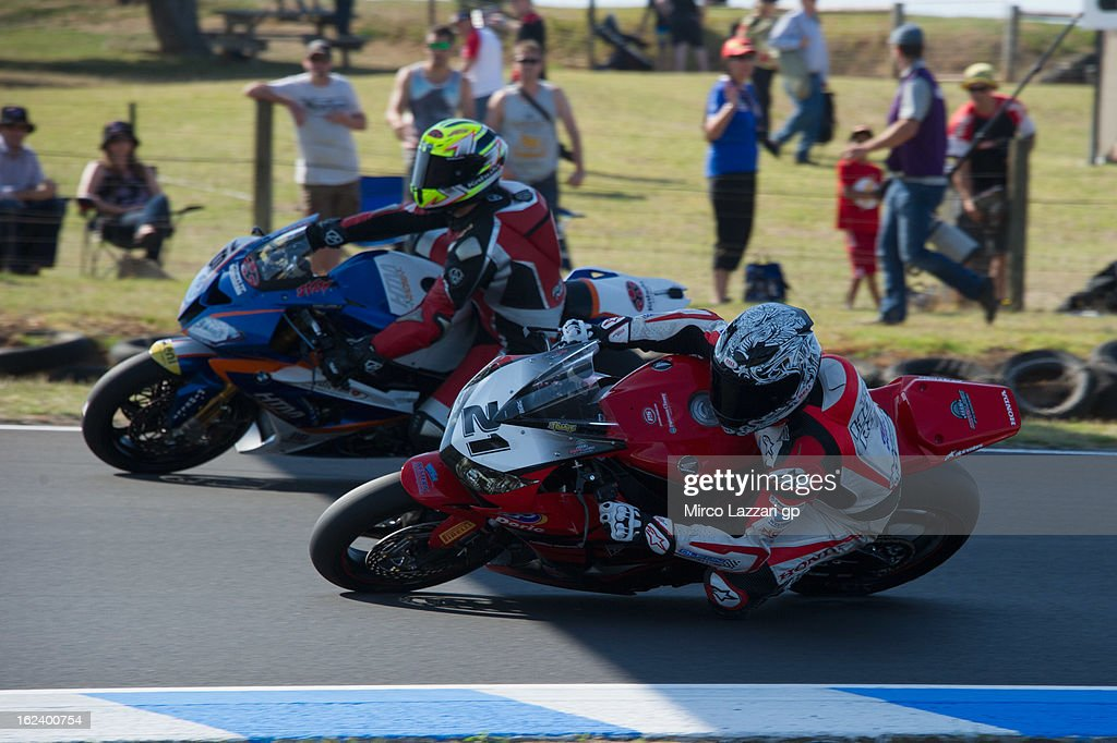 Jamie Stauffer of Australia and Team Honda Racing rounds the bend during the qualifying during the round first of 2013 Superbike FIM World Championship at Phillip Island Grand Prix Circuit on February 23, 2013 in Phillip Island, Australia.