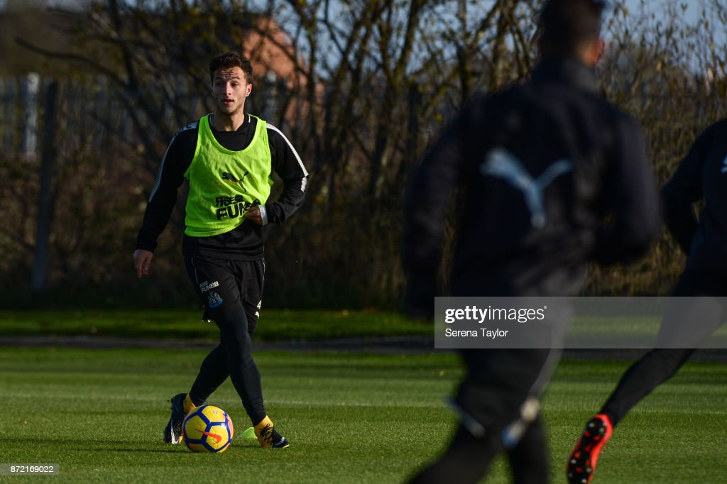 Jamie Sterry controls the ball during the Newcastle United Training session at the Newcastle Untied Training Centre on November 9, 2017 in Newcastle upon Tyne, England.