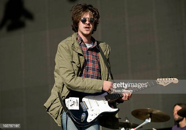 Jamie T performs on the NME stage during the first day of T In The Park Festival at Balado on July 9 2010 in Kinross Scotland
