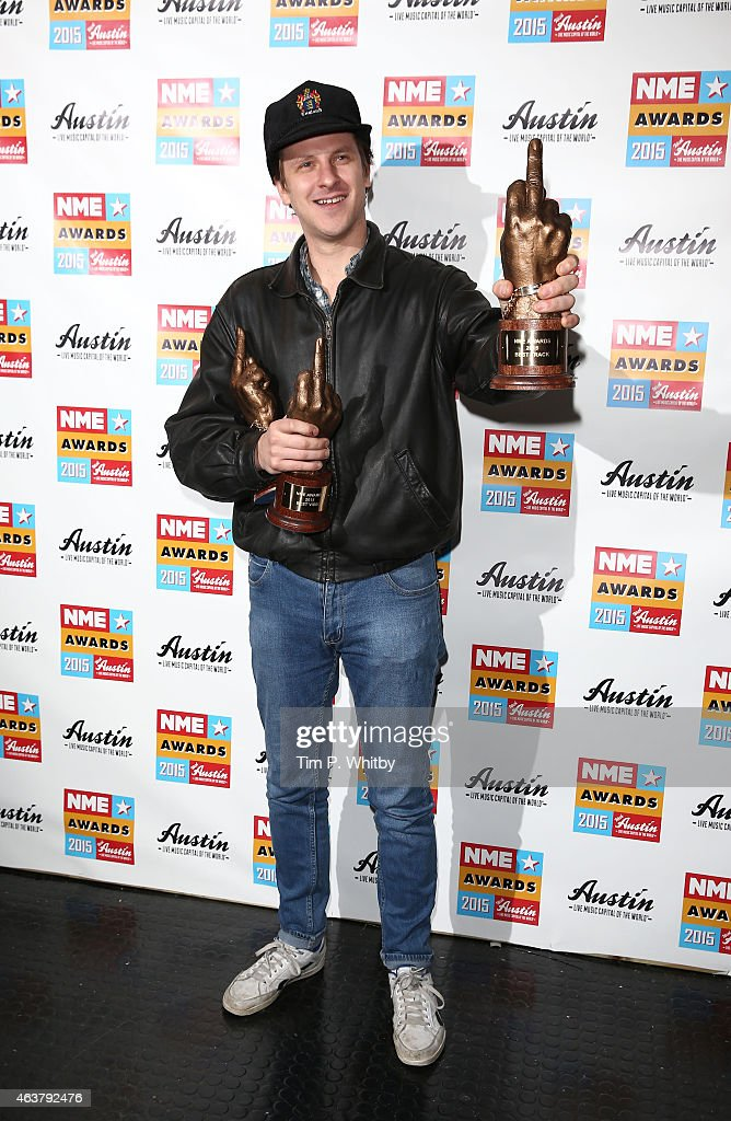 Jamie T poses in the winner's room at the NME Awards at Brixton Academy on February 18 2015 in London England