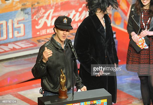 Jamie T receives the Best Music Video award for 'Zombie' at the NME Awards at Brixton Academy on February 18 2015 in London England