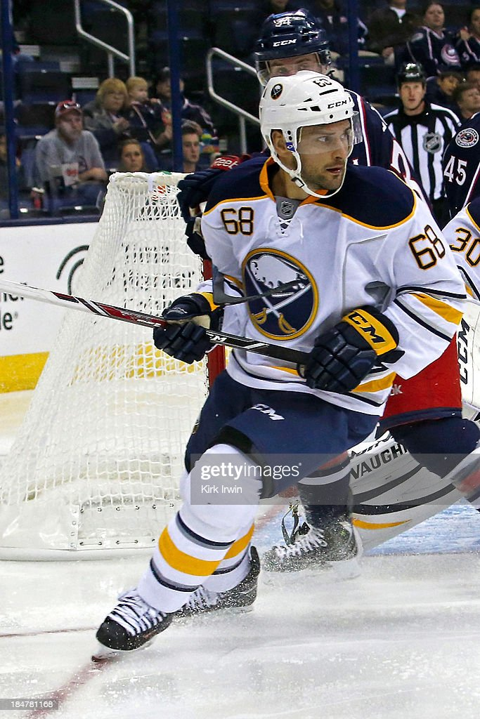 Jamie Tardif #68 of the Buffalo Sabres skates after the puck during the game against the Columbus Blue Jackets on September 17, 2013 at Nationwide Arena in Columbus, Ohio.