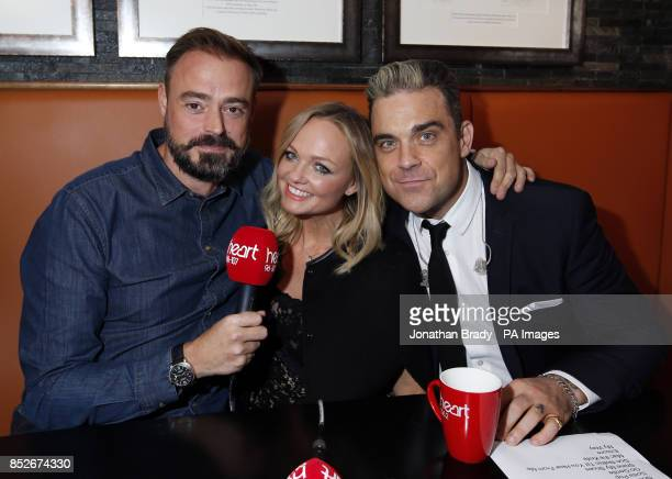 Jamie Theakston Emma Bunton and Robbie Williams backstage at an exclusive gig for Heart radio at Under the Bridge in London