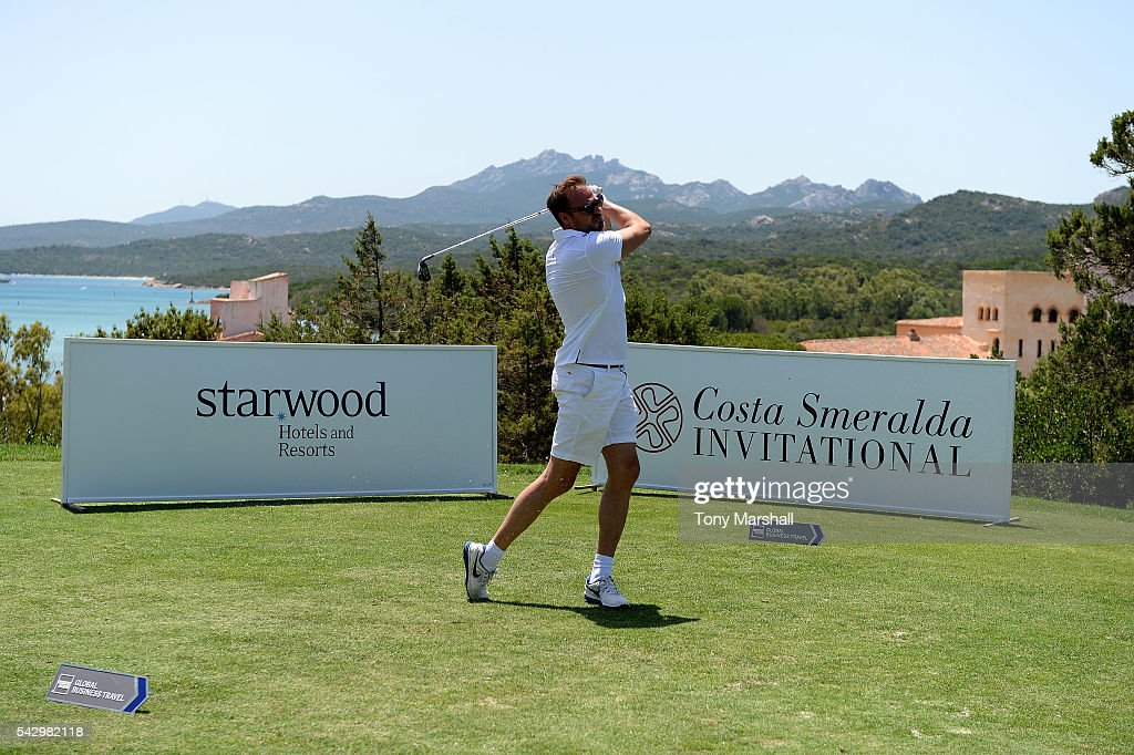 Jamie Theakston tees off during The Costa Smeralda Invitational golf tournament at Pevero Golf Club - Costa Smeralda on June 25, 2016 in Olbia, Italy.
