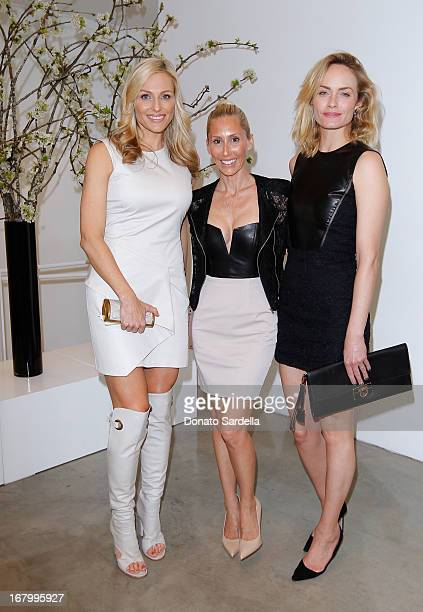 Jamie Tisch Alexandra von Furstenberg and Amber Valletta attend a cocktail reception hosted by Ferragamo to announce the inaugural opening gala for...