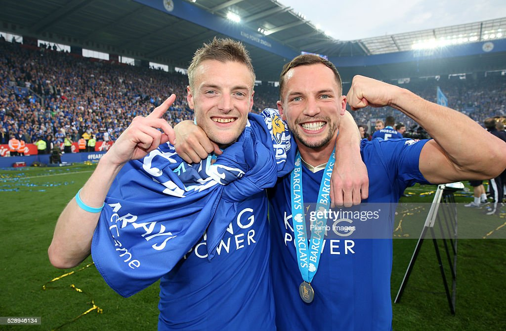 Jamie Vardy and Danny Drinkwater of Leicester City with their Premier league winners medals after the Barclays Premier League match between Leicester...