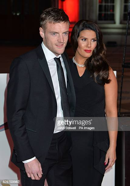 Jamie Vardy and his wife Rebekah arriving at the Sun Military Awards at the Guildhall London