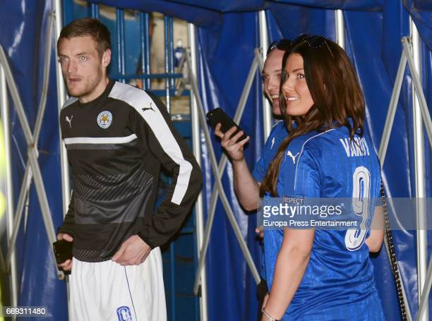Jamie Vardy and his wife Rebekah Vardy are seen during the Champions League quarter final first leg match between Club Atletico de Madrid and...