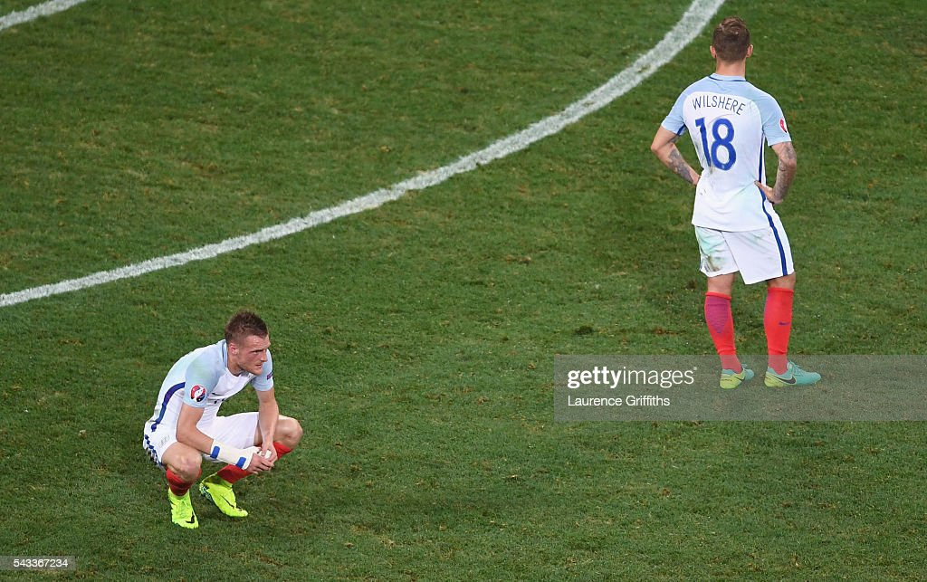 Jamie Vardy and Jack Wilshire of England show their dejection after their defeat in the UEFA EURO 2016 round of 16 match between England and Iceland...