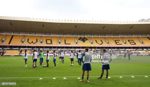 Jamie Vardy and Marc Albrighton of Leicester City at Molineux Stadium ahead of the pre season friendly between Wolverhampton Wanderers and Leicester...