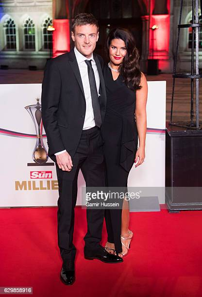 Jamie Vardy and Rebekah Vardy attend The Sun Military Awards at The Guildhall on December 14 2016 in London England