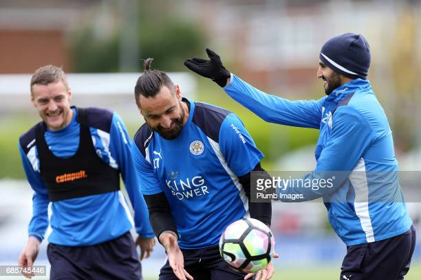 Jamie Vardy and Riyad Mahrez joke with Marcin Wasilewski during the Leicester City training session at Belvoir Drive Training Complex on May 20 2017...