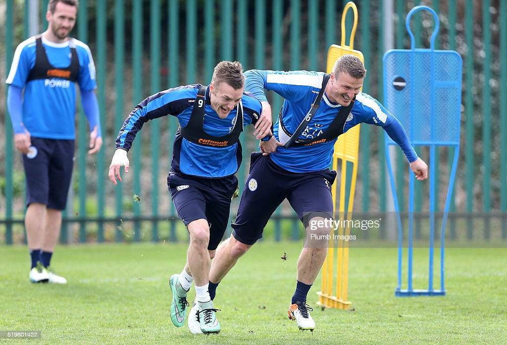 Jamie Vardy and Robert Huth during a Leicester City training session at Belvoir Drive Training Complex on April 8, 2016 in Leicester, United Kingdom.