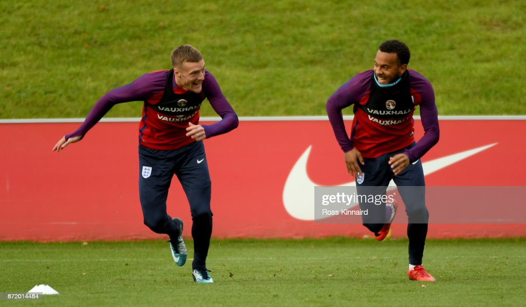 Jamie Vardy and Ryan Bertrand of England in action during a England training session at St Georges Park on November 9, 2017 in Burton-upon-Trent, England.