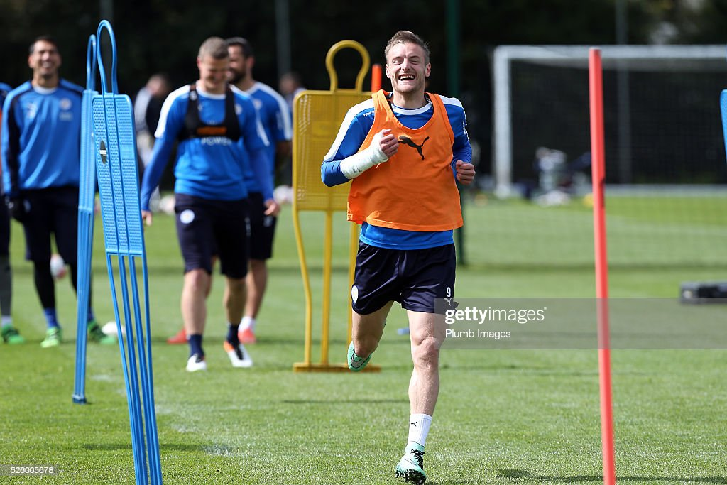 Jamie Vardy during the Leicester City training session at Belvoir Drive Training Complex on April 29, 2016 in Leicester, United Kingdom.