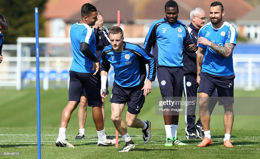 <a gi-track='captionPersonalityLinkClicked' href=/galleries/search?phrase=Jamie+Vardy&family=editorial&specificpeople=8695606 ng-click='$event.stopPropagation()'>Jamie Vardy</a> during the Leicester City training session at Belvoir Drive Training Complex on May 05, 2016 in Leicester, United Kingdom.