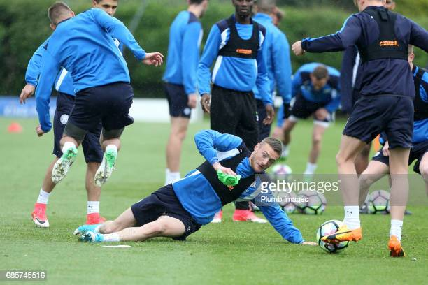 Jamie Vardy during the Leicester City training session at Belvoir Drive Training Complex on May 20 2017 in Leicester United Kingdom