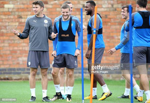 Jamie Vardy during the Leicester City training session at Belvoir Drive Training Complex on August 17 2017 in Leicester United Kingdom