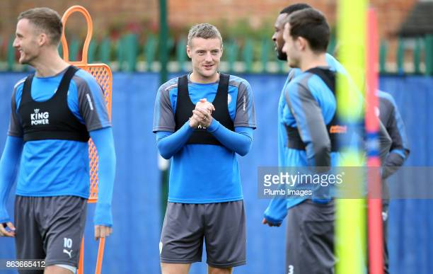 Jamie Vardy during the Leicester City training session at Belvoir Drive Training Complex on October 20 2017 in Leicester United Kingdom