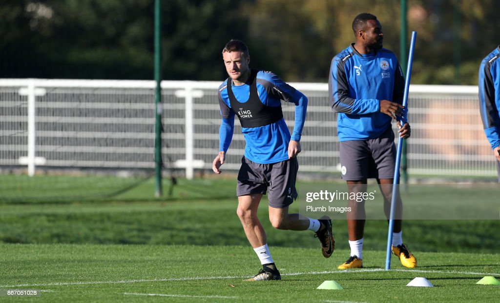 Jamie Vardy during the Leicester City training session at Belvoir Drive Training Complex on October 27 , 2017 in Leicester, United Kingdom.