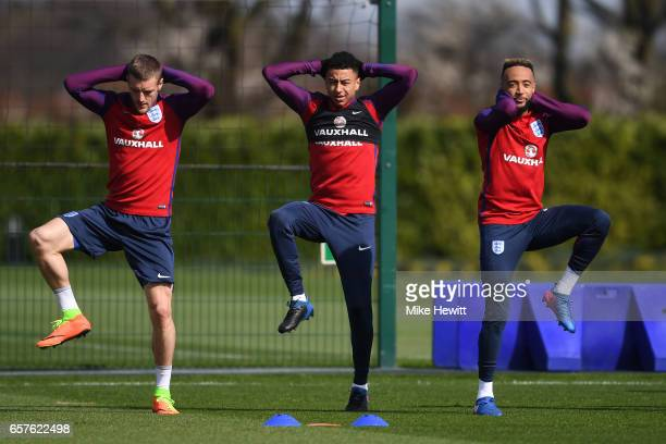 Jamie Vardy Jesse Lingard and Nathan Redmond of England run through drills during the England training session at the Tottenham Hotspur Training...