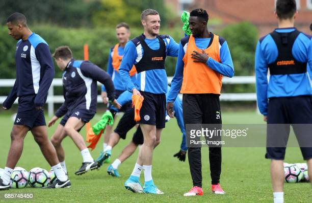 Jamie Vardy jokes with Wilfred Ndidi during the Leicester City training session at Belvoir Drive Training Complex on May 20 2017 in Leicester United...