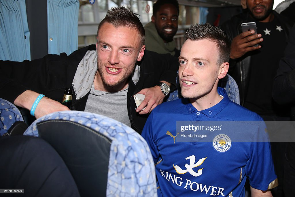 Jamie Vardy lookalike Lee Chapman joins Jamie Vardy and the Leicester City team on their way to a Premier League title celebration dinner on May 3, 2016 in Leicester, England.