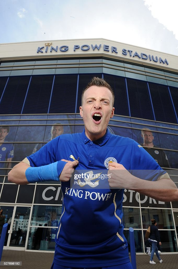 Jamie Vardy lookalike Lee Chapman poses at the King Power Stadium on May 3, 2016 in Leicester, England.