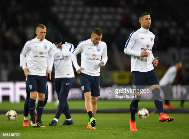 Jamie Vardy of England and Gary Cahill of England warm up prior to the international friendly match between Germany and England at Signal Iduna Park...